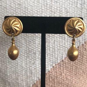 Vintage gold post dangle earrings.